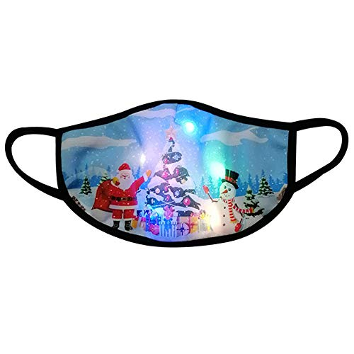 【Shiping from US!!!】 LED Christmas Face_Mask Light Up, Christmas Lights Glowing Face_Mask for Men and Women,Breathable Windproof Comfortable Christmas Print Christmas Theme Face_Mask for Party