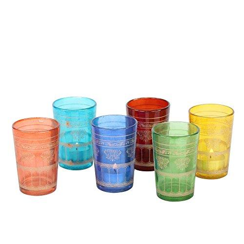 albena shop 73-107 Nilay 6 vasos de té marroquíes colorido