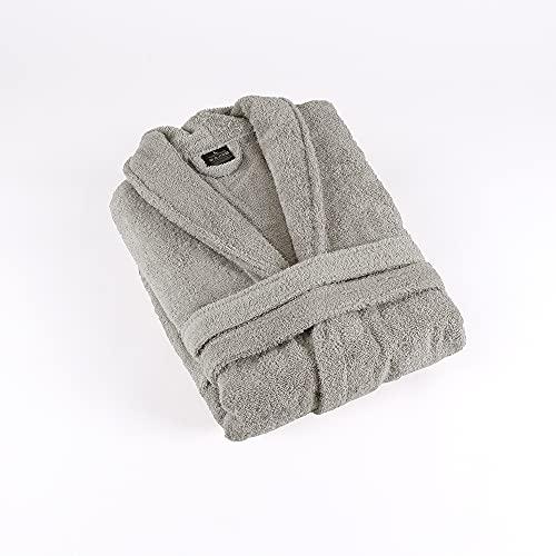 PimpamTex - Peignoir de Bain Unisexe 100% Coton pour Homme et Femme avec Collier de Smoking - (Talla XL, Gris Perle)