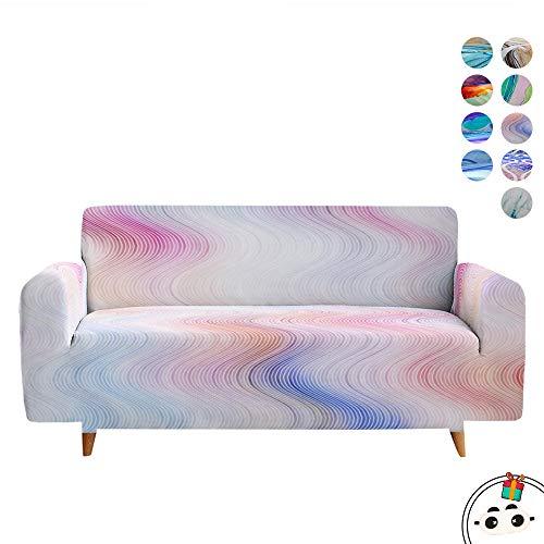 Enhome Funda para Sofá de 1 2 3 4 plazas, Universal 3D Color de Flujo Multicolor Impresa Antideslizante Elástica Extensible Fabric Protector Cubierta Cubre de Sofá Fundas (Rosa Degradado,2 Plazas)