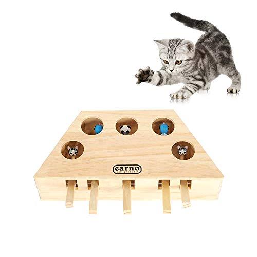 NIBESSER Katzenspielzeug, interaktives Spielzeug, aus massivem Holz, massives Maulwurfspiel, Puzzle-Spielzeug
