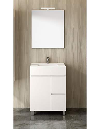 PDM Mueble de baño TEMIS con Espejo y Lavabo - 2 cajones con Tirador Gola y Espacio de almacenaje con Puerta. Toallero de Regalo - Blanco (60CM)
