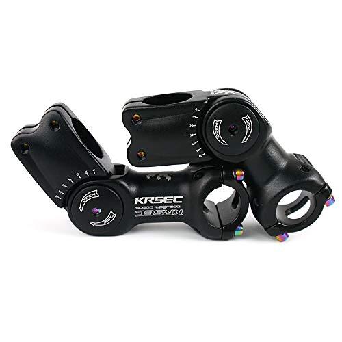 KRSEC US Stock MTB Stem 25.4/31.8mm 90/110mm,Adjustable Bicycle Stem 0-60 Degree Mountain Bike Stems, for Folding Fixed Gear Road Bike Black Stem