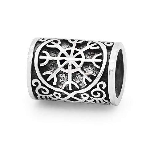 925 Sterling Silver Viking Celtic Knot Compass for Hair, Dreads & Beards, Bead Charm Fit Major Brand Bracelet