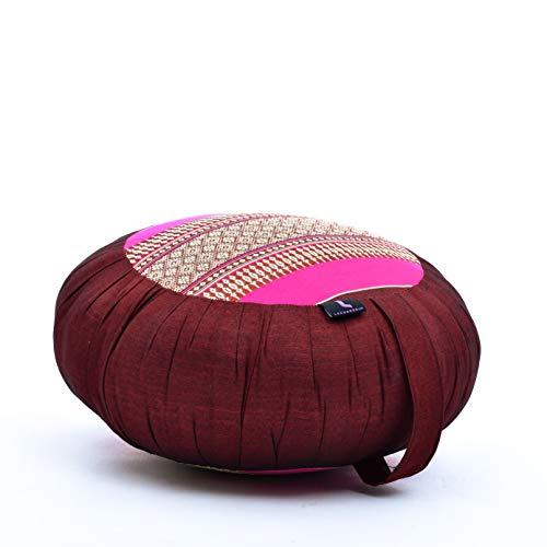 Leewadee cojín de meditación Zafu – Almohada Redonda de Yoga, Asiento tailandés de kapok Natural y orgánico Hecho a Mano, 40 x 20 cm, castaño Rosado