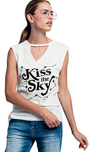 Q2 Camiseta Blanca Sin Mangas con Detalle de Texto Mujer