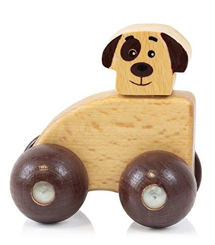 edu fun 22199 Hund Holz Kinder Rutscher Rutschauto Holzfigur Hund Babyspielzeug Bunt 7 x 8,6 x 4,8 cm