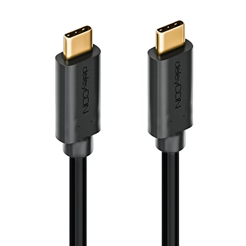 deleyCON 1m USB 3.0 Kabel - Stecker Typ 3.1 - USB C auf USB C - 5 Gbit/s Ladekabel Datenkabel für z.B. Smartphone PC Notebook Ladegerät - Schwarz