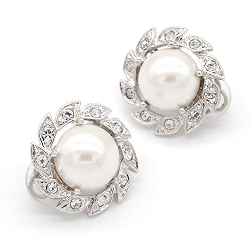 Pendientes Clip, Mimei Pendientes Mujer Plata con Perla y Cristal Para Mujer/ Regalo Mamá
