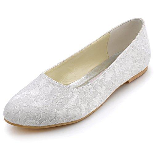 Elegantpark EP11106 Zapatos Planos para Novia de Encaje con Puntera Cerrada Zapatos Novia Boda Comodos Marfil 41 EU