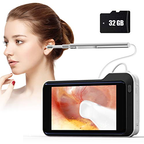 Digital Otoscope, 1080P HD Ear Scope with 5.0 inch IPS Screen,3.9mm Ultra-Thin Visual Ear Camera for Kids and Adult, Ear Endoscope Earwax Removal Tool with 6 LED Lights and 32GB SD Card
