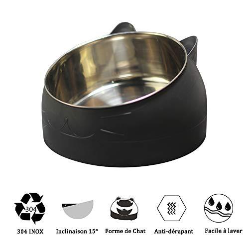 d.stil Katzennäpf Edelstahl rutschfest Nicht verschüttet Mehrfarbig Futternapf Katze Hunde Wassernapf Schüssel 1L (Schwarz)