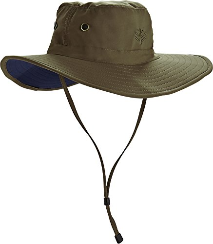 Coolibar UPF 50+ Men's Leo Shapeable Wide Brim Hat – Sun Protective (Large/X-Large- Khaki/Navy)