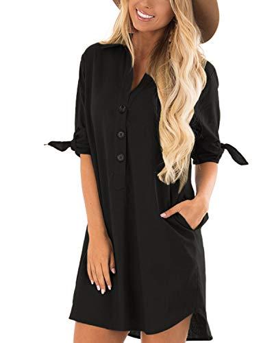 Cnfio - Blusa de verano para mujer, elegante, cuello de pico