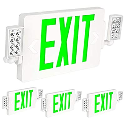 Hykolity Green Exit Sign with Emergency Lights, 120-277V Emergency Exit Lights with Battery Backup, Adjustable Two Head, Double Face LED Exit Sign - 4 Pack