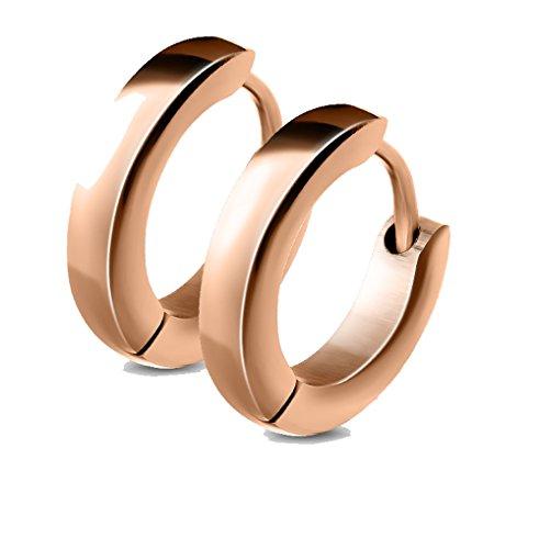 Les Plaisirs de Stella - Orecchini a cerchio in acciaio, diametro: 8 mm, larghezza: 2,5 mm