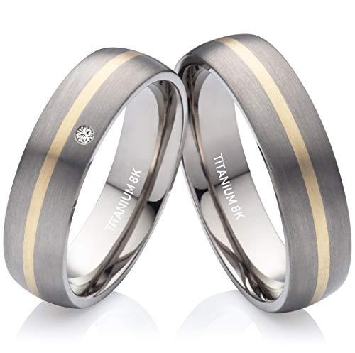 Eheringe Verlobungsringe Trauringe aus Titan und Gold mit echtem Diamant Gratis Lasergravur TG176