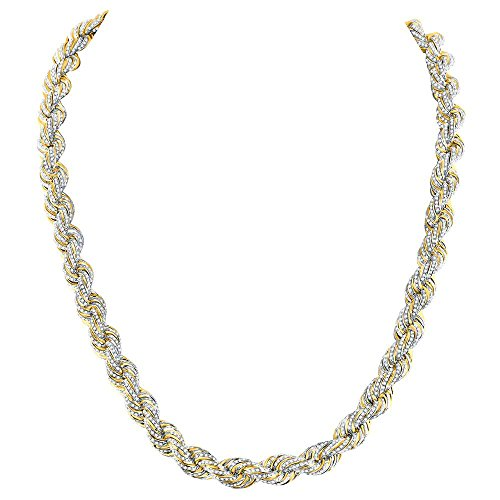 10kt Yellow Gold Mens Round Diamond Rope Chain Necklace 19-7/8 Cttw
