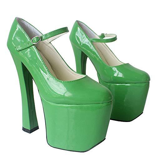 TIKENBST High Heels 20CM Lackleder Platform Pumps Dicke High Heels Cosplay Schuhe,Green-37