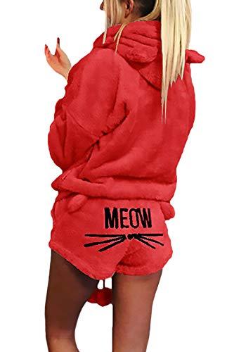 HaiDean Damen Hoodie+ Shorts Kuschelig Winter Zweiteilig Katze Embroidery Warme Cordhose Jungen Chic Einfarbig Kapuzenpullover Boxershort (Color : Rot, Size : 2XL)