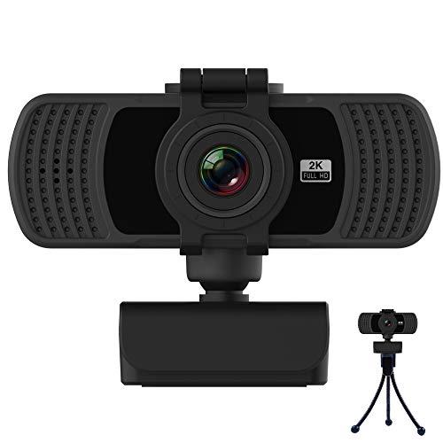Webcam 2K mit Mikrofon 2020 Upgrade Webcam 1080P Full HD USB Webcam mit Festem Fokus und Stativ fur Laptop Computer PC Desktop fur Live Streaming Videoanruf Konferenz Online Unterricht Spiel