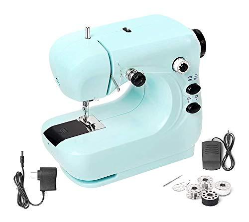 Estilo-fiable Máquina de coser, mini Máquina de coser eléctrica, portátil y ligero del hogar Máquina de coser (para principiantes), dos hilo de brazo libre Fácil de costura, de 2 velocidades ajustable