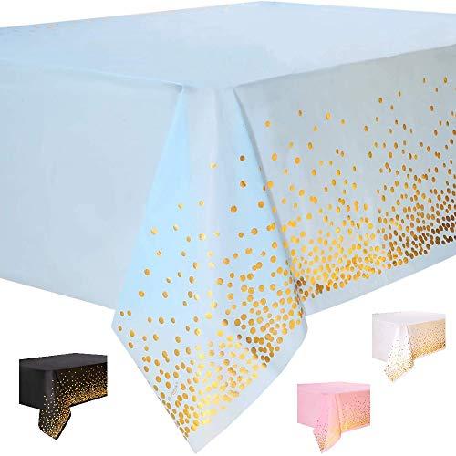 DIWULI, große Tischdecke blau, Tafeldecke 273 x 137 cm rechteckig, Tafeltuch Punkte gold, einweg Tischwäsche, Kunststoff-Tischdecke abwaschbar Kinder-Geburtstag, Mädchen Junge, Motto-Party, Dekoration