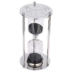 Silver Hourglass 60 Minute Sand Timer,Large Black Sand Clock Stand,Vintage Sand Watch 60 Min, Unique Reloj De Arena 60 Minutos, Antique 1 Hour Glass Sandglass for Home, Office, Desk, wedding Decor