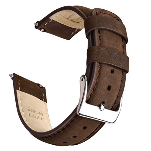 Ritche 20mm Leather Watch Band Quick Release Leather Watch Strap (Saddle Brown)