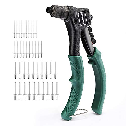 METAKOO Rivet Gun, Single Hand Manual Rivet Gun Kit With 4 Tool-free Interchangeable Color-Coded Heads, 4 in 1 Hand Riveter Set with 40-Piece Rivets-MHR01H