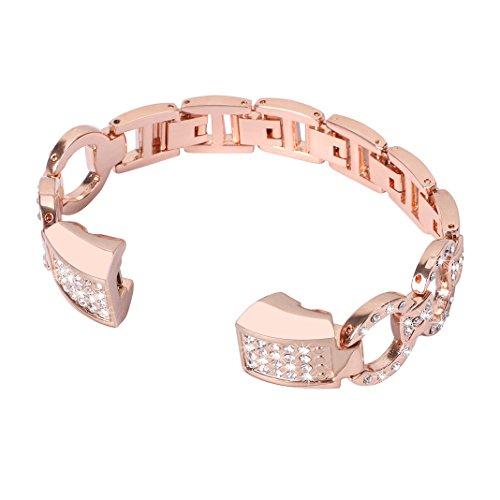 Bracelet Fitbit Alta HR, Rosa Schleife®Montre Bracelet Or Rose Acier inoxydable Metal Boucle Bande avec Métallique Rhinestone Sport Straps Wristband pour Fitbit Alta/HR Fitness Tracker (No Tracker)