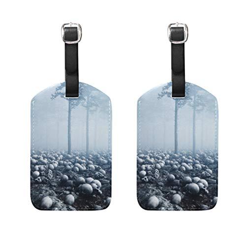 Etiquettes de Bagages VORMOR (Assorties, 2 PK) Forêt de Nuit de Brouillard de Vieux crânes Effrayant, Etiquettes de Bagages, Bagages pour valises