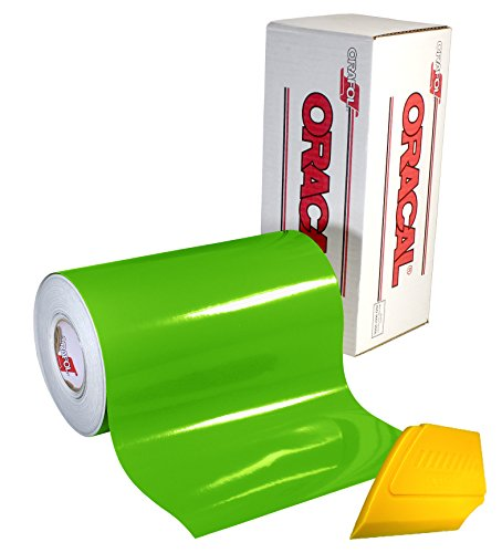ORACAL 651 Multi-Colored Vinyl Solvent-Based Adhesive-Backed Calendared Wrap Decals w/ Yellow Multi-Purpose Squeegee (12 x 5ft, Lime Tree Green)