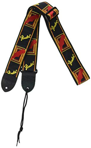 Fender 099-0681-500 Tracolla per Chitarra Monogramma 2'' Nera, Gialla, Rossa