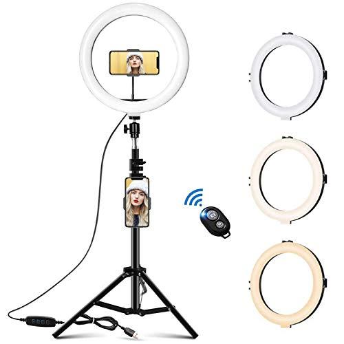 Lintelek 10 Zoll Ringlicht mit einziehbarem Stativ Make-up Licht mit Doppelte Handyhalter DREI Beleuchtungsmodi und zehn Helligkeitsstufen Verstellbare...