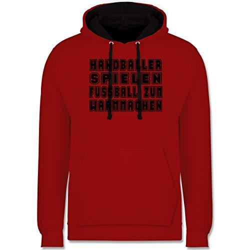 Shirtracer Handball - Handballer Spielen Fußball Zum Warmmachen - XS - Rot/Schwarz - Statement - JH003 - Hoodie zweifarbig und Kapuzenpullover für Herren und Damen