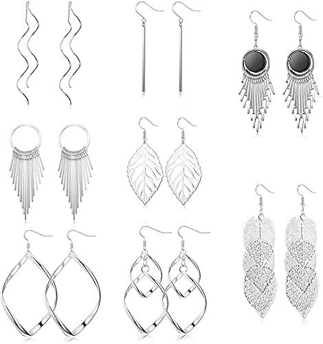 Adramata 8 pares de pendientes colgantes de aro Pendientes de aleación Pendientes de hojas Pendientes ondulados Conjunto de pendientes de moda para mujer
