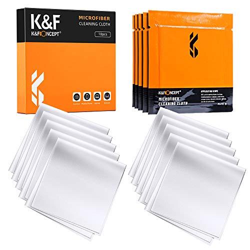 K&F Concept-10 Piezas Paños Limpieza de Microfibra Envasado al Vacío/Secos/Lavables/15×15cm para Gafas/Pantallas/Objetivos/Lentes/PC, Gamuza Gafas, Toallitas Gafas,Bayeta Gafas