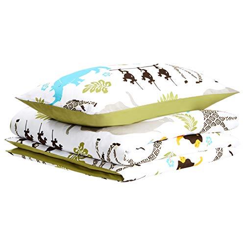 Amazon Basics Parure de lit pour enfant avec housse de couette, microfibre, animaux - 135 x 200cm + 50 x 75cm