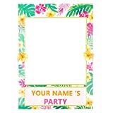 2 in 1 Luau Photo Booth Props Frame Party Supplies - Hawaiian Tropical Tiki Birthday Baby Shower Bridal Shower Wedding Decorations (Assembly Needed)