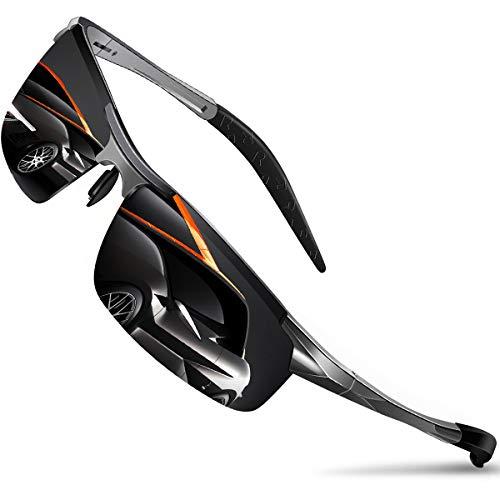 DADA-PRO Sonnenbrille Herren Sportbrille Damen Polarisiert Verspiegelt Retro Fahren Fahrerbrille UV400 Schutz für Autofahren Reisen Golf Party und Freizeit (Grau Neu/Nicht Vespiegelte Linse)