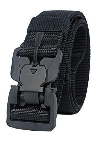 Longwu Hebilla súper magnética Lona de nylon de liberación rápida Cinturón táctico militar transpirable para hombres y mujeres con hebilla de plástico Negro