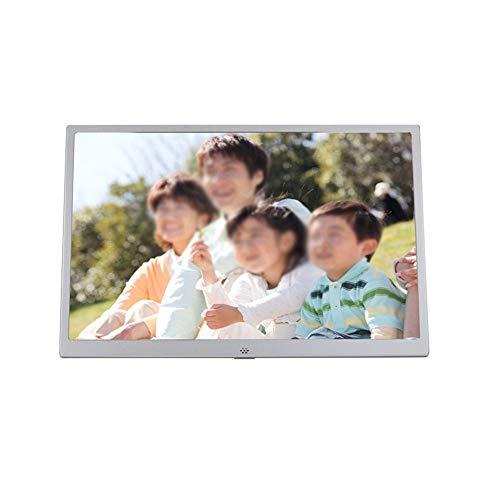Elektronisches Album Ultradünne Metallschmalseite 15 Zoll Digitaler Fotorahmen 1280 * 800 Pixel LED-Bildschirm 1080P HD-Videowiedergabe USB- und SD-Kartensteckplätze Silber Digitaler Bilderrahmen elek