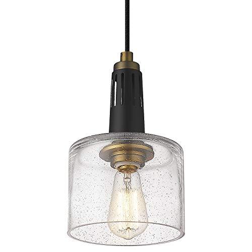 Industrial Pendant Light, Mini Glass Pendant Light for Kitchen, Bell Pendant Lighting in Black Finish with Seeded Glass, Adjustable Length, LMS-095