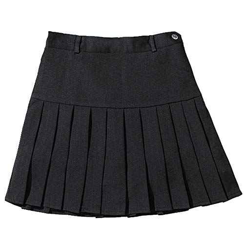 Falda plisada para otoño e invierno Negro M