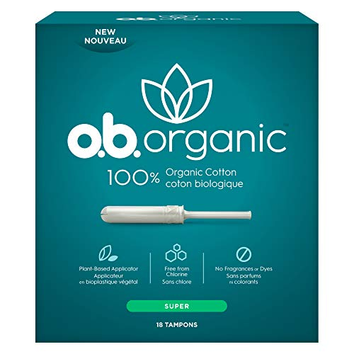 o.b. Organic Tampons with New Plant-Based Applicator, 100% Organic Cotton, Super, 18Count
