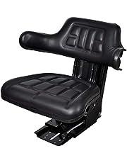 vidaXL Asiento Silla de Tractor con Reposabrazos Suspensión Impermeable Comoda