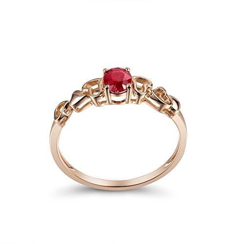 Lanmi Vintage Solid 14K Rose Gold Natural Red Ruby Rings Promise Engagement for Women