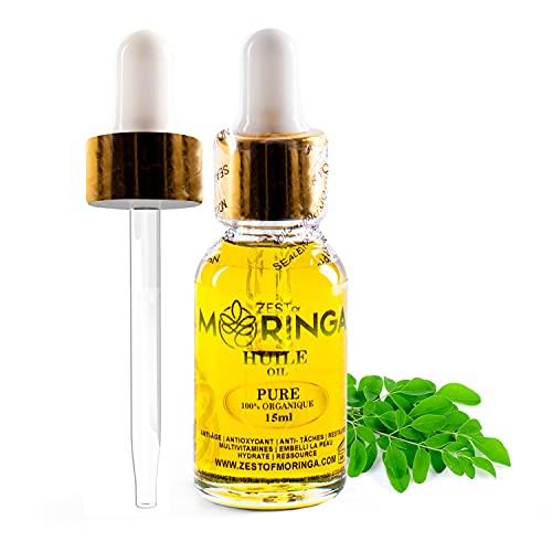 Zest Of Moringa Face Oil For Anti - Aging Wrinkles   Moringa Oil For Skin Care, Hair Care, Acne Treatment & Eczema Essential Oil   100% Pure & Organic   15 ML  