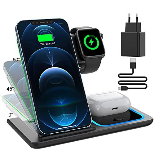 KIMILAR 3 en 1 Chargeur sans Fil, Chargeurs à Induction Compatible avec iPhone 12/11/11 Pro/X/XS/8 Plus, QI Station de Charge Inductive Compatible avec Apple Watch/Airpods/Samsung Xiaomi Téléphones
